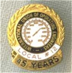 Operating Engineers Local 12 45 Year Union Pin