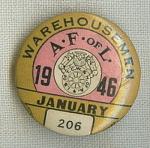 A Fof L Ware Housemen Union Pin January 1946