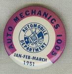 Auto Mechanics 1005 Union Pin Button 1951.