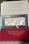 1976-s U.s. Treasury Silver Mint Set In Original Red Packaging With Coa - 40% Silver 3 Coins