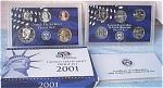 2001-s C/n Clad U.s. Treasury Deep Cameo Gem Proof Set In Original Box With Coa 10 Coins