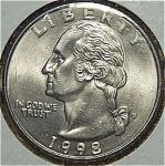 1998-p Washington Quarter Cut From Mint Set Coins