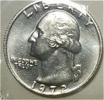 1972 Washington Quarter Cut From Mint Set Coins