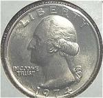 1974 Washington Quarter Cut From Mint Set Coins