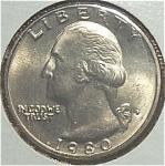 1980-p Washington Quarter Cut From Mint Set Coins