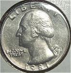 1981-p Washington Quarter Cut From Mint Set Coins