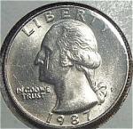 1987-p Washington Quarter Cut From Mint Set Coins