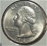 1987-d Washington Quarter Cut From Mint Set Coins