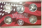 2002-s U.s. Treasury 90% Silver State Quarters Only Proof Set In Plastic Display 5 Coins