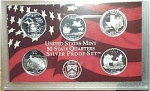2004-s U.s. Treasury 90% Silver State Quarters Only Proof Set In Plastic Display 5 Coins