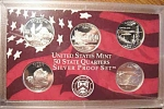 2005-s U.s. Treasury 90% Silver State Quarters Only Proof Set In Plastic Display 5 Coins