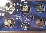 2008-s C/n Clad U.s. Treasury State Quarters Only Proof Set: No Box & No Coa 5 Coins