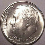 1957 Roosevelt Dime - Bu To Choice Bu Or Better - From Original Roll Coins