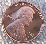 1987-s Lincoln Deep Cameo Proof Cent Red Gem Coins