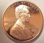 1990-s Lincoln Deep Cameo Proof Cent Red Gem Coins