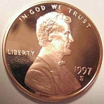 1997-s Lincoln Deep Cameo Proof Cent Red Gem Coins