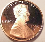 1996-s Lincoln Deep Cameo Proof Cent Red Gem Coins