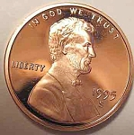 1995-s Lincoln Deep Cameo Proof Cent Red Gem Coins