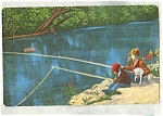 Fishing In The Ozarks Postcard C.1950 Pc