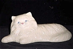 Opalescent White Persian Cat Ceramic Figurine