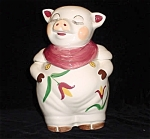 Shawnee Style Smiley Pig W/ Tulips Cookie Jar