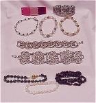 Costume Jewelry - Lot Of 10 Bracelets - Pearl, Hematite, Crystal Bead, Lucite, Garnets Or Rubies