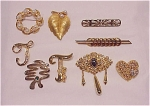 Costume Jewelry - Lot Of 9 Gold Tone Brooches - Pearl, Rhinestone, 2 Signed Jj, 1 Signed Monet