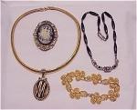 Costume Jewelry - 4 Pieces Of Mixed Costume Jewelry - Cameo, Napier Bracelet, 2 Necklaces - 1 Liz Claiborne
