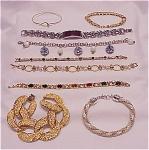 Costume Jewelry - Lot Of 9 Bracelets - Rhinestone, Pearl, Two Tone