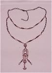 Costume Jewelry - Pink Rhinestone & Crystal Lavaliere Choker Necklace