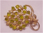 Costume Jewelry - Faux Seed Pearl & Green Peridot Glass Stones Brooch