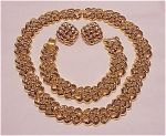 Costume Jewelry - Gold Tone Choker Necklace, Bracelet & Pierced Earrings Full Parure Set