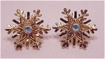 Costume Jewelry - Snowflake Pierced Earrings With Aurora Borealis Rhinestones Signed Avon