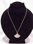 Costume Jewelry - Frosted Glass Shell Pendant Necklace Signed Avon