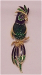Costume Jewelry - Numbered Dark Blue & Green Enamel Parrot Bird Brooch