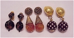 Costume Jewelry - 3 Pair Of Large Chunky Dangling Clip Earrings - 1 With Polka Dots