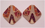 Costume Jewelry - Large Enamel & Gold Rhinestone Clip Earrings Signed Don-lin