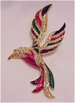 Costume Jewelry - Large Rhinestone And Enamel Flying Bird Brooch