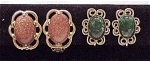 Costume Jewelry - 2 Pair Of Vintage Clip Earrings - 1 Sandstone, 1 Faux Jade