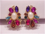 Vintage Costume Jewelry - Multicolored Rhinestone & Pearl Clip Earrings