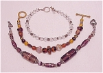 Costume Jewelry - 3 Glass Bead Or Crystal Toggle Clasp Bracelets