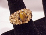 Costume Jewelry - Uncas 14k Gold Electroplate & Tiger Eye Man's Ring
