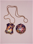 Costume Jewelry - Necklace With Two Cloisonne Enamel Pendants