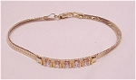 Costume Jewelry - Gold Tone Chain Bracelet With Clear Rhinestones