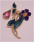 Costume Jewelry - Beautiful Gold Tone & Enamel Flower Brooch