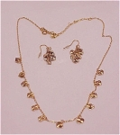 Costume Jewelry - Avon Dangling Heart Choker & Pierced Earrings Set