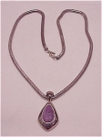 Costume Jewelry - Monet Silver Tone Necklace With Amethyst Lucite Stone