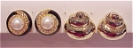 Costume Jewelry - 2 Pairs Of Clip Earrings - Pearl, Enamel, Rhinestone