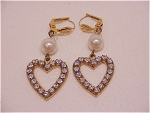 Costume Jewelry - Dangling Rhinestone Hearts & Pearl Pierced Earrings