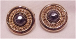 Costume Jewelry - Gold Tone & Faux Black Pearl Clip Earrings Signed Carolee
